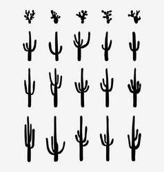silhouettes of cactus vector image