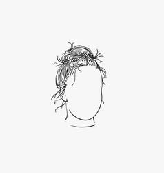 Sketch girl head with no face and bun vector