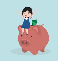 small girl riding piggy bank vector image