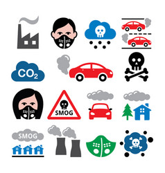 Smog pollution anti pollsution mask icons vector