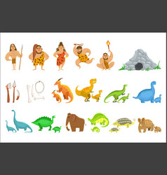 Stone age tribe people and related objects vector
