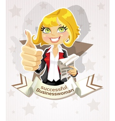 Successful businesswoman poster with pretty blond vector