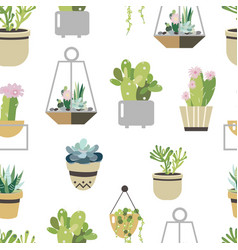 Succulent and cactus seamless pattern flat style vector