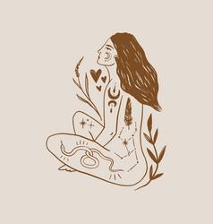 Tattooed girl long hair yoga meditation wild vector