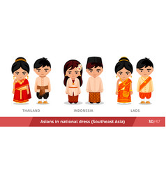 thailand indonesia laos men and women in vector image