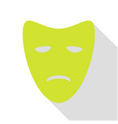 tragedy theatrical masks pear icon with flat vector image
