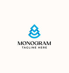 tree monogram logo template isolated in white vector image