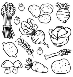 Vegetable set han draw doodles vector