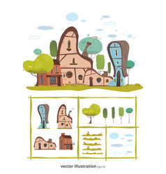 village houses and natural elements creative set vector image