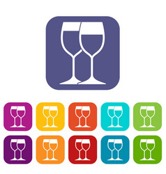 Wine glasses icons set vector