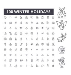 winter holidays editable line icons 100 vector image
