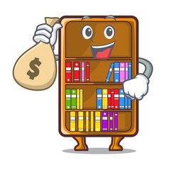 With money bag mascot bookcase beside the study vector
