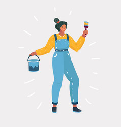 Woman doing wall painting vector