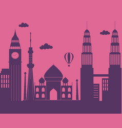 world monuments air balloon skyline architecture vector image