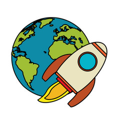 world rocket spaceship image vector image
