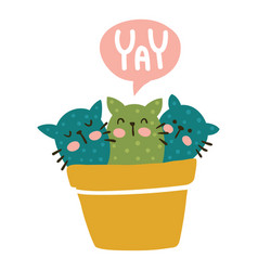 yay cactus cats vector image