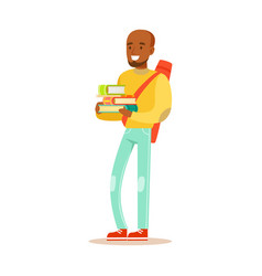 young happy man in casual clothes with backpack vector image