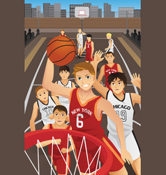 Young men playing basketball vector