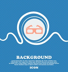 3d glasses icon sign Blue and white abstract vector image