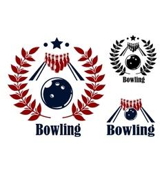 Bowling emblems and symbols vector image vector image