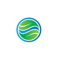 circle leaf business eco logo vector image