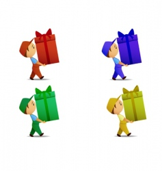 delivery boy with gift box vector image vector image