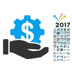Development Service Icon With 2017 Year Bonus vector image vector image