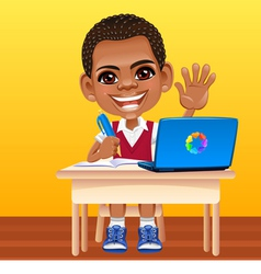happy smiling African schoolboy vector image