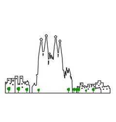 isolated barcelona cityscape vector image