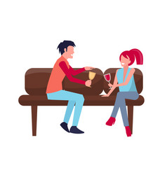 man woman on sofa with wine vector image