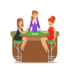 Two beatuful girls playing cards in a luxury vector