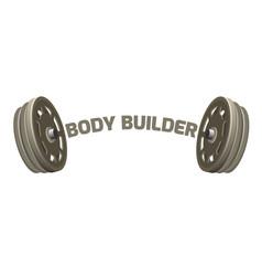 bodybuilder logotype design with two dumbbells vector image