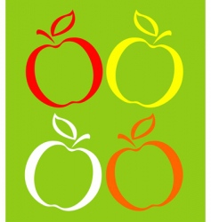 colored apples vector image vector image