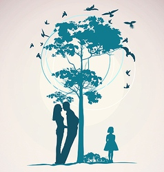couple standing near a tree vector image vector image