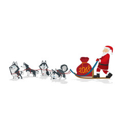 dogs sled team and santa with chrismas red bag vector image