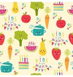 Kids food menu background vector image
