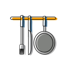 ladles and pan vector image vector image