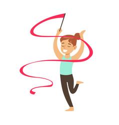 little girl doing rhythmic gymnastics exercise vector image vector image