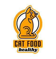 logo on the theme of food for cats taking care of vector image vector image