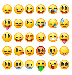 set of emoticons emoji isolated on white vector image vector image