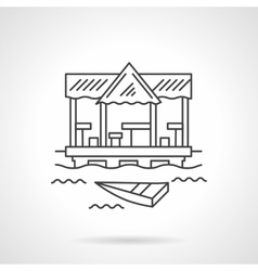 Tropical jetty flat line icon vector image vector image