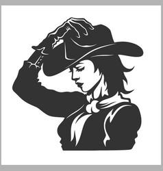 cute cowgirl 2 - retro clip art vector image