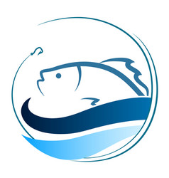 fish on the waves and a hook vector image vector image
