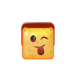 smiling emoticon face show tongue positive icon vector image