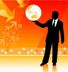 businessman holding planet vector image