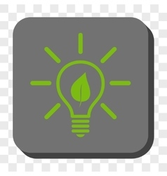 Eco Light Bulb Rounded Square Button vector image