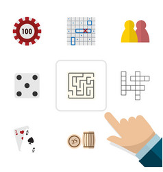 Flat icon games set of labyrinth guess ace and vector