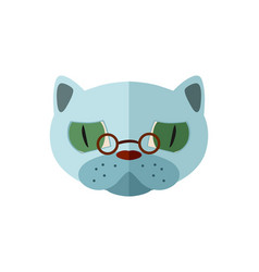 Russian blue cat head with glasses icon vector