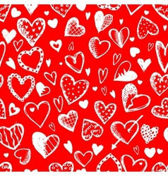 Seamless pattern with valentine hearts sketch vector image