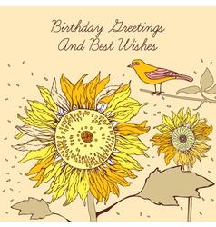 Sunflower Bird Birthday Card vector image